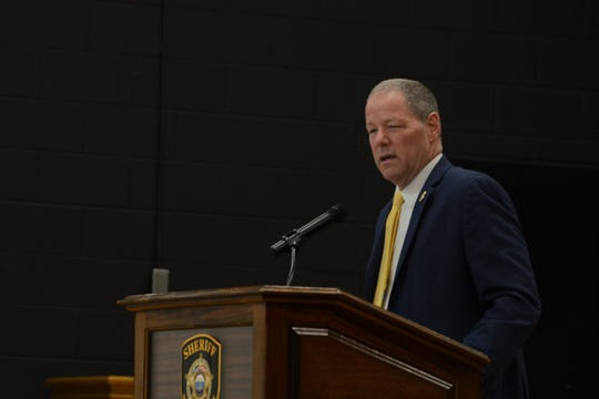 TBI Director David Rausch speaks at the opening of a child homicide conference at the West Tennessee Regional Training Center from May 15 to May 17.