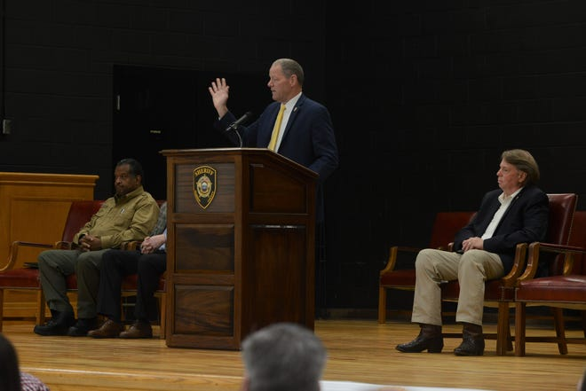 TBI director David Rausch speaks as Terry McCreight and John Mehr look on at a child homicide conference at the West Tennessee Regional Training Center from May 15 to May 17.