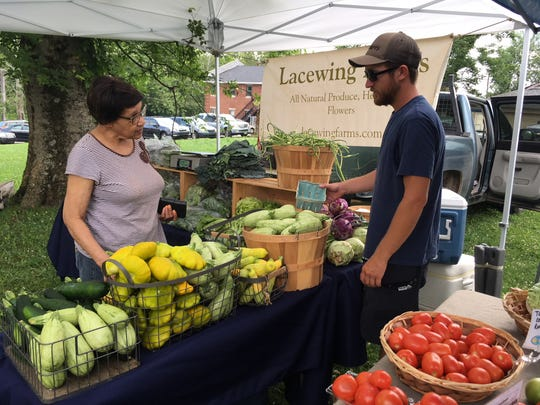The Rev. Chris Battle, in partnership with Nourish Knoxville, SEEED, 5 Points Up and others, opened the Eastside Farmers Market on the grounds of Tabernacle Baptist Church last summer to address the lack of fresh produce in East Knoxville. June 3, 2018.
