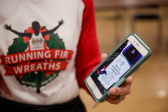 """Cathy Powers talks about her late son, Senior Airman Bryce Powers, and what caused her to start """"Running Fir Wreaths,"""" Thursday, May 16, 2019 at Indiana Veterans Home in West Lafayette."""