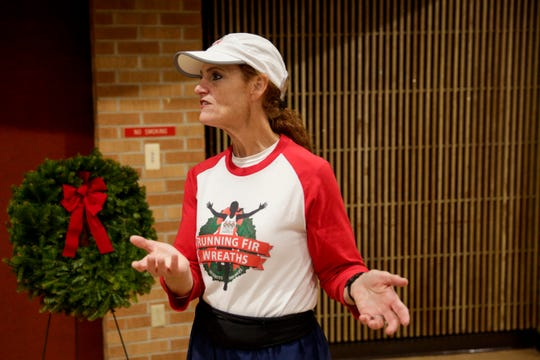 """Kathy Powers talks about her late son, Senior Airman Bryce Powers, and what caused her to start """"Running Fir Wreaths,"""" Thursday, May 16, 2019 at Indiana Veterans Home in West Lafayette."""