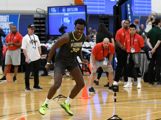 Kris Wilkes (38) does a drill during day two of the NBA Draft Combine  at Quest Multisport Complex on Friday, May 17, 2019.