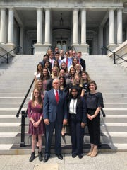Vice President Mike Pence poses with Purdue University Honors students on Friday, May 17 in Washington D.C.