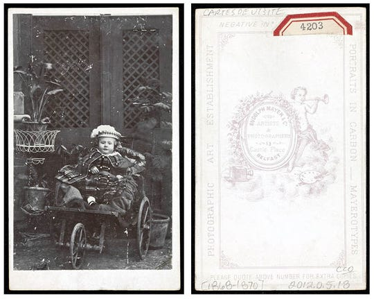 Mayerotype of a Child Seated in a Three-Wheeled Baby Carriage, produced by Rudolph (Rudolf) Mayer & Co. in Castle Place, Belfast, Ireland – 1868-1870.