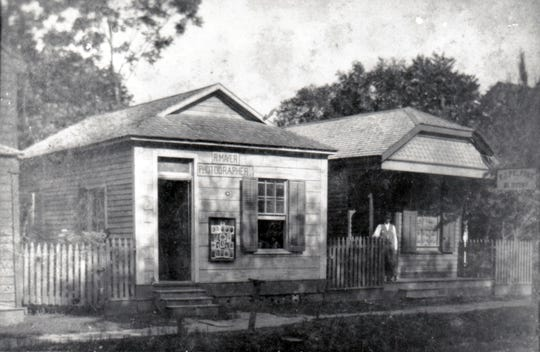 The photography studio of Professor R. Mayer  on Main Street next door  to the old Opelousas Varieties (large building to the left). The professor operated his photo studio and also taught music lessons at the Varieties building next door.