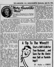 An advice column from the April 25, 1956 Lancaster Eagle-Gazette.