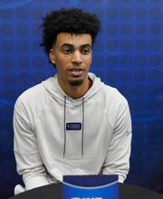 May 17, 2019; Chicago, IL, USA; Jordan Nwora talks to the media during day two of the NBA Draft Combine  at Quest Multisport Complex.