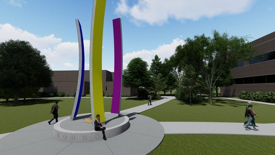 "A sculpture entitled ""Upward Bound"" is being donated to Lansing Community College by  Andrew Abood, a trustee, in honor of his mother, Patricia Abood."