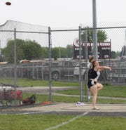 Crestview sophomore Reagan Garrett broke the school record with her Division III district title-winning effort of 129-6 in the discus.