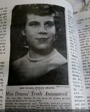 "Muriel Evelyn ""Evie"" Draves, became the wife of Dale Treace on Dec. 8, 1950."