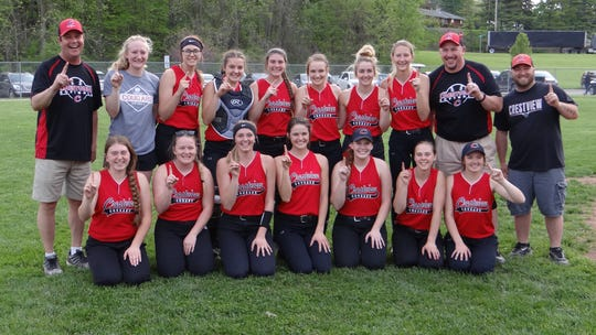 Crestview Softball Team defeated Monroeville to claim Firelands Conference Championship with a score of 2-1 on Thursday. Back Row: Coach Rodney Givens, Autumn Bailey, Jade Schaefer, Mary Leeper, Lindsey Them, Kristin Crider, Zoe Metzger, Alysaa Derr, Coach Aaron Goon, Coach Josh Cunningham. Front Row: Madalynn Aumend, Brookelyn Johnson, Kylie Ringler, Natalie Restille, Clare Robertson, Paige Schaefer, Ashlie Hicks