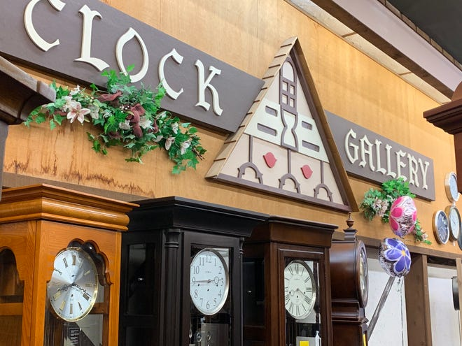 Little Swiss Clock Shop's clock gallery features a variety of grandfather clocks lined up along one wall, opposite the side of the store that features wall and mantle clocks. The store will close soon, ending a 51-year presence in downtown Waukesha.