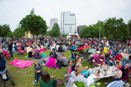 A crowd gathers at Jazz in the Park in 2016 in Milwaukee's Cathedral Square Park.