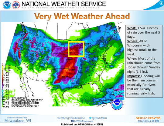 Forecasts are calling for heavy rain across much of the central United States, including Wisconsin.