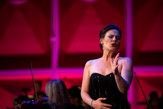 """Mezzo-soprano Elise Quagliata brought a riveting sound and tremendous theatrical sense and presence to """"Amour, viens aider ma faiblesse"""" from Saint-Saens' """"Samson et Dalilah"""" and music from Bizet's """"Carmen."""""""