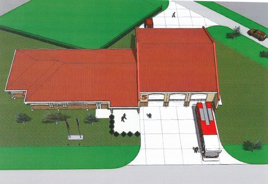 A new fire station will be built at Bread Street and Betin Avenue in Monroe, The existing station at the same location will be demolished. An architectural rendering shows the planned design for the new facility.
