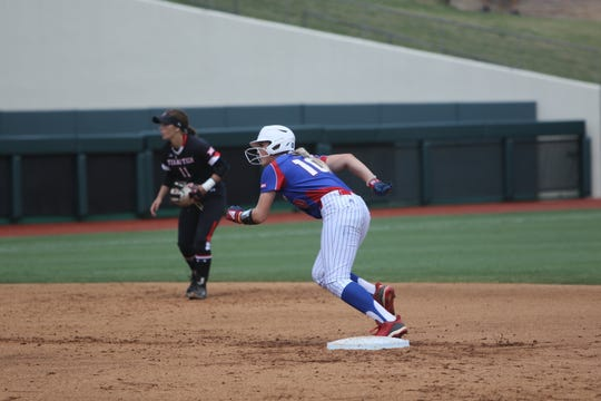 Louisiana Tech sophomore Mary Terral (10) runs off second base during Friday's NCAA regional contest versus Texas Tech at Tiger Park at LSU.