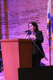 Tzlil Bandy McDonald,  executive director of the Jewish Federation of Central Alabama, speaks at the 2018 Israel Fest.