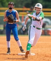 Brantley's Olivia Jones against Belgreen at Lagoon Park in Montgomery, Ala., on Friday May 17, 2019.