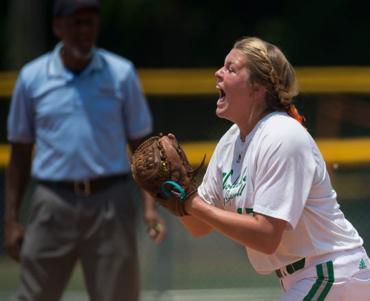 Holtville's Kaylyn Dismukes (17) reacts to making the final out of an inning during the Class 4A state tournament at Lagoon Park in Montgomery, Ala., on Friday, May 17, 2019. North Jackson defeated Holtville 13-1 in five innings.