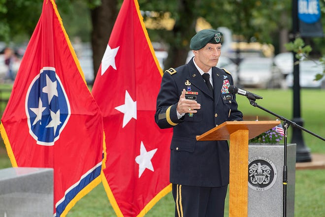 Keith M. Huber, senior adviser for veterans and leadership initiatives at MTSU, will be the chair for the 2020 virtual Rutherford Heart Walk, to be held Saturday, Sept. 26. He is shown speaking at the 9/11 Remembrance Ceremony in September 2018.