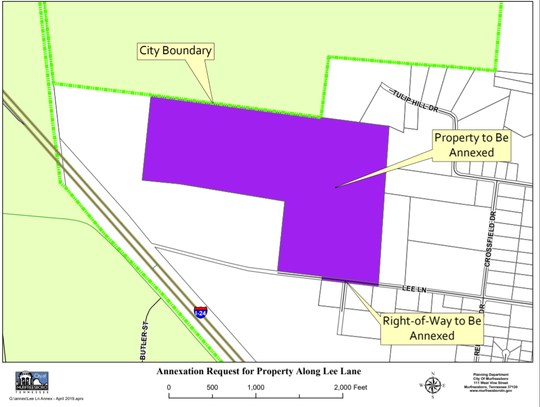 The map shows in purple a proposed 85 acres off Lee Lane to be annexed and rezoned for heavy industrial use for a proposed factory and headquarters. The Murfreesboro Planning Commission will hold public hearings on the annexation and rezoning requests during a 6 p.m. June 5 meeting in Council Chambers at City Hall, 111 W. Vine St.
