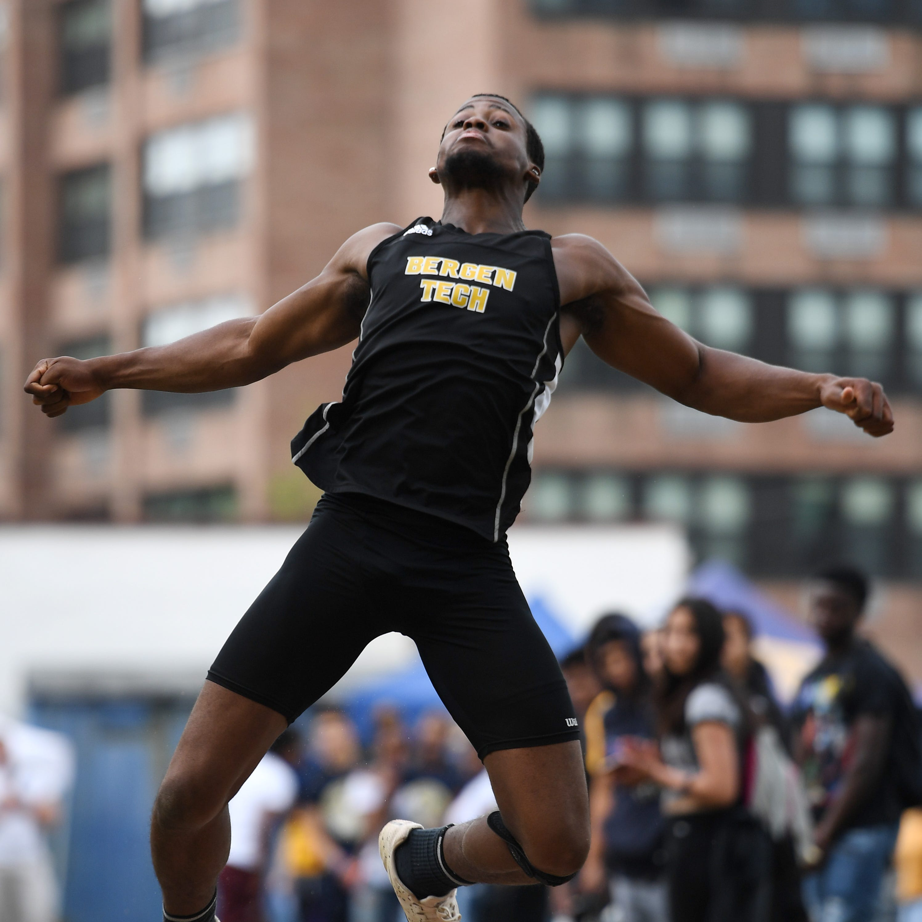 Bergen Meet of Champions at Hackensack High School on Friday, May 17, 2019. Keivon Banks, of Bergen Tech, in the triple jump.