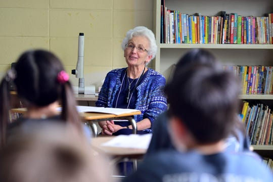 Dr. Edith Shapiro, a holocaust survivor, talks to at classroom of students at Fieldstone Middle School on Friday May 17, 2019 in Montvale, N.J.