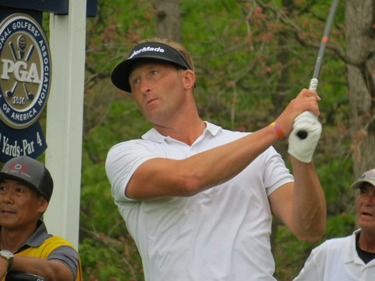 Tyler Hall of New Jersey shot 3-over-par 73 during the second round of the 101st PGA Championship at Bethpage State Park's Black Course in Farmingdale, N.Y. on Friday, May 17, 2019.