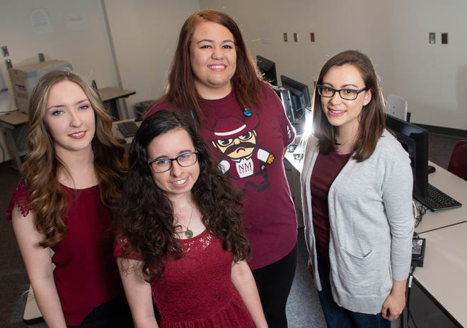 Angela Kearns, left, Gabriella Garcia, Catalina Sanchez-Maes, Elena Davidson, are seen in the Science Hall Computer Lab on Wednesday, April 17, 2019. New Mexico State University's Computer Science program is ranking 22nd nationwide in enrolling and graduating women in computer science.