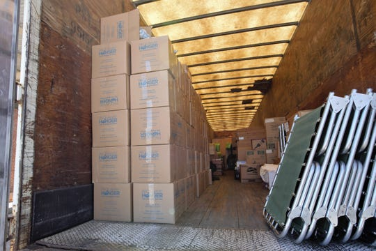A total of 30,000 donated non-perishable meals are stored in a trailer at the former U.S. Army Reserve Center in Las Cruces to be served to asylum applicants being released from federal custody at the facility. Friday, May 17, 2019.