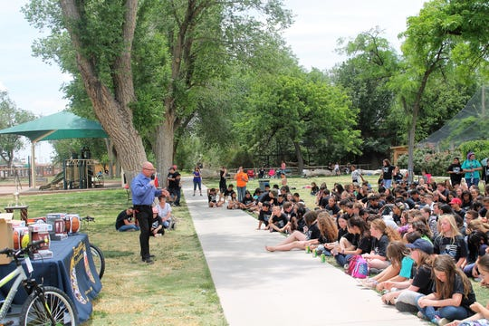 APS Superintendent Jerrett Perry speaks to the district's fifth graders at D.A.R.E. Picnic Day. Alamogordo D.A.R.E. celebrated D.A.R.E. Picnic Day with Alamogordo Public Schools fifth graders on May 16.