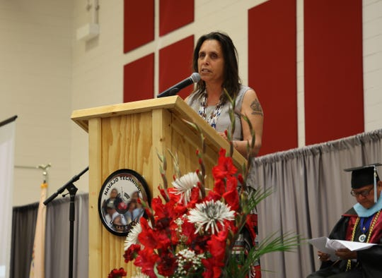 Environmentalist, activist and writer Winona LaDuke gives the commencement speech for Navajo Technical University's spring commencement on May 17 in Crownpoint.