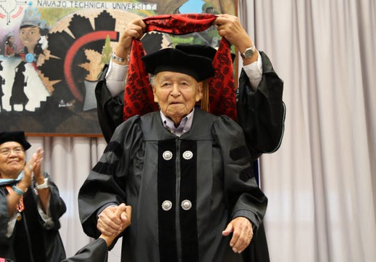 State Sen. John Pinto was named the first recipient of an honorary doctoral degree from Navajo Technical University on May 17 in Crownpoint.