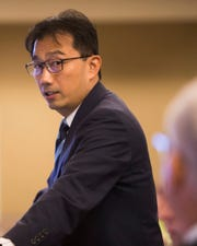 Paul P. Lin of GLC Enterprises LLC, speaks at a Riverside County Planning Commission in May 2019.