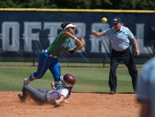 University of West Florida Shortstop, Mika Garcia, makes the first out of a double play during game two of the NCAA Division II South Super Regional game against Florida Tech on Friday, May 17, 2019.