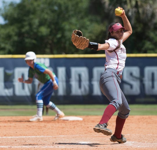 Florida Tech's Melanie Murphy starts in the circle during the  NCAA Division II South Super Regional game against University of West Florida on Friday, May 17, 2019.