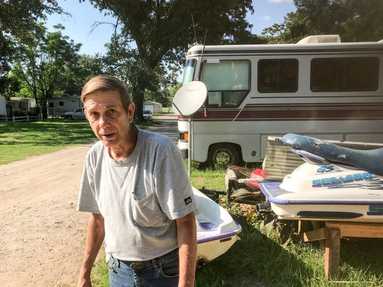 John Wenzel, 63, was recently given a 30-day notice to relocate his mobile home from the Flamingo Park mobile home park on West Nine Mile Road.