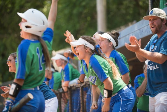 University of West Florida pitcher bench comes alive after scoring the go-ahead run against Florida Tech during the NCAA Divison II South Super Regional Game at UWF on Friday, May 17, 2019.