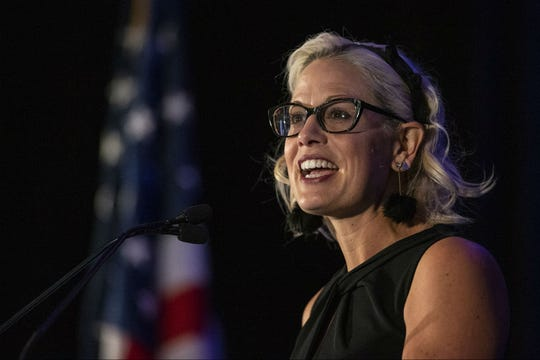 U.S. Sen. Kyrsten Sinema speaks during an event hosted by the Arizona Chamber of Commerce and Industry on May 17, 2019, at the Arizona Biltmore in Phoenix.