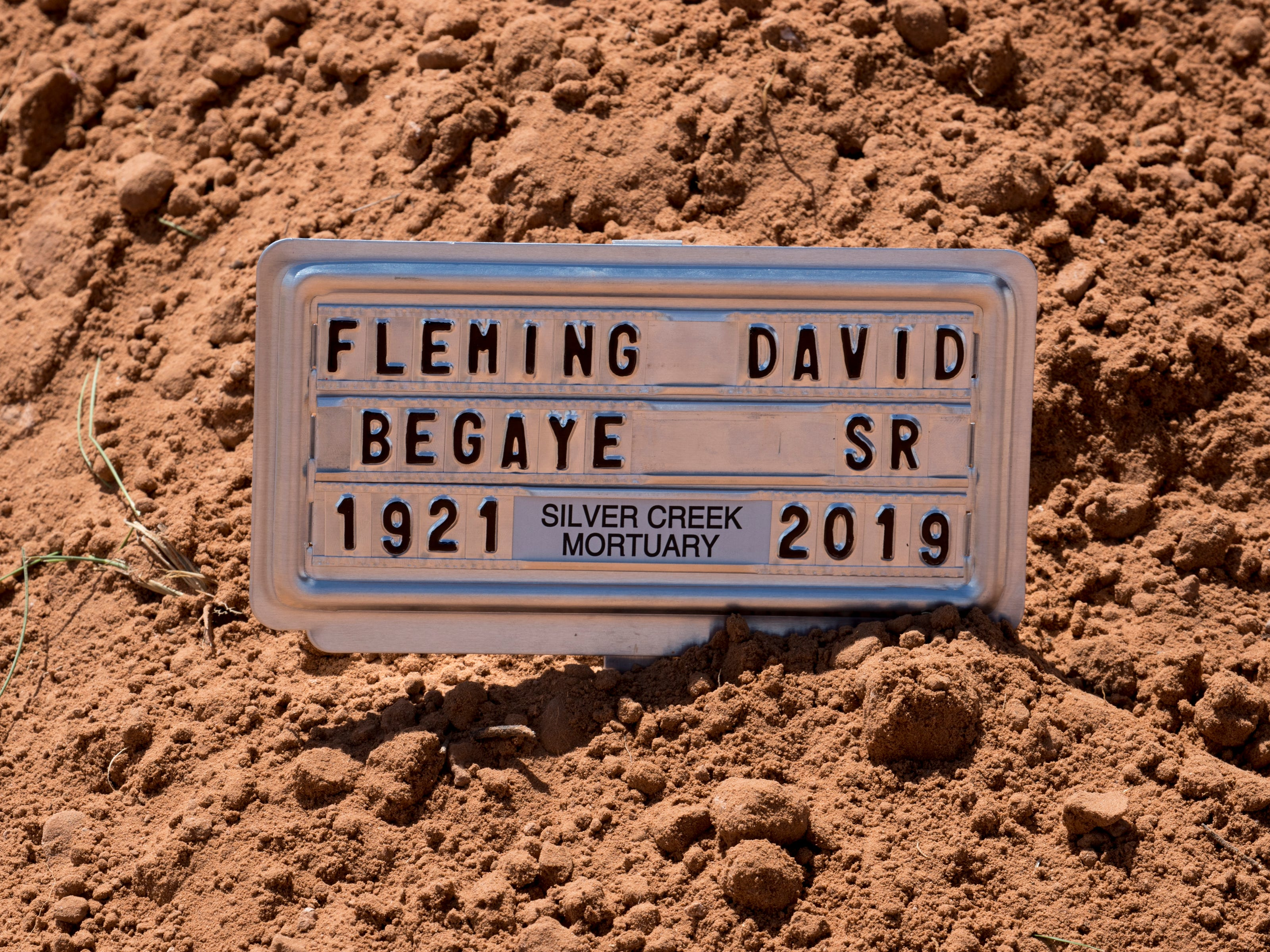Navajo Code Talker Fleming Begaye Sr. was buried with full military honors on May 17, 2019, at the family plot in Salt Water Canyon, Ariz.