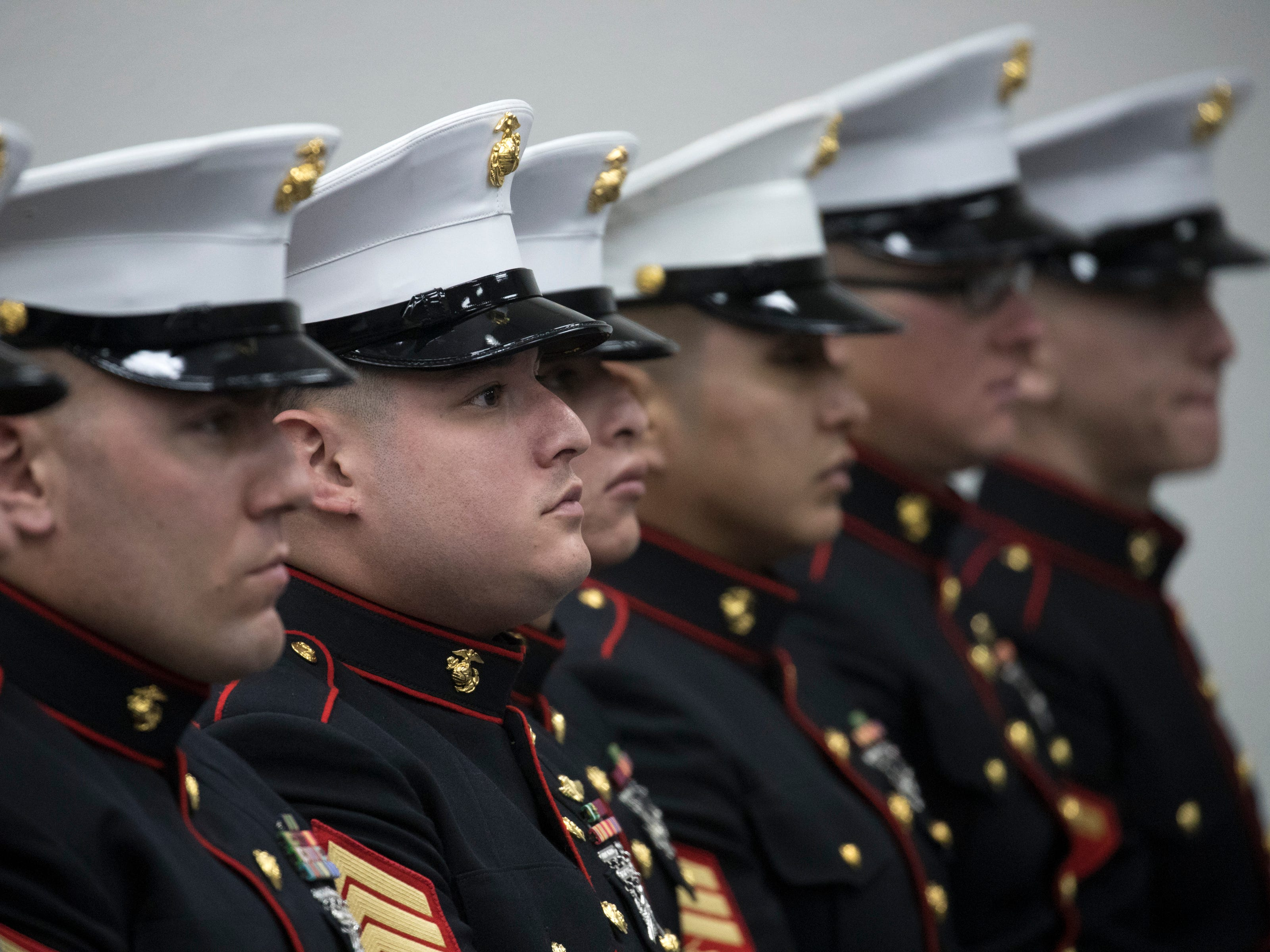 Marines during the funeral service for Navajo Code Talker Fleming Begaye Sr. on May 17, 2019, at the Potter's House Christian Center in Chinle, Ariz.