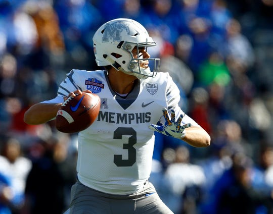 Memphis Tigers quarterback Brady White (3) throws a pass during the first half of the Birmingham Bowl against the Wake Forest Demon Deacons at Legion Field. Dec. 22, 2018 Butch Dill-USA TODAY Sports