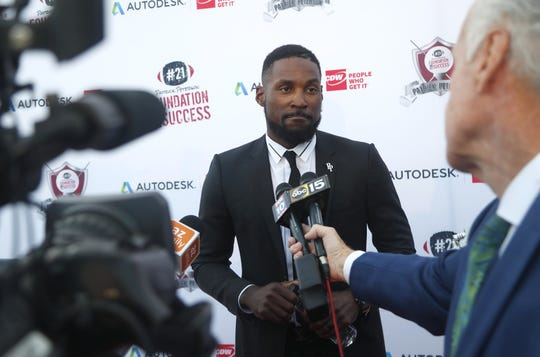 Cardinals' Patrick Peterson speaks before a charity event about the six game suspension he received from the NFL for violating the league's performance-enhancing substance policy.
