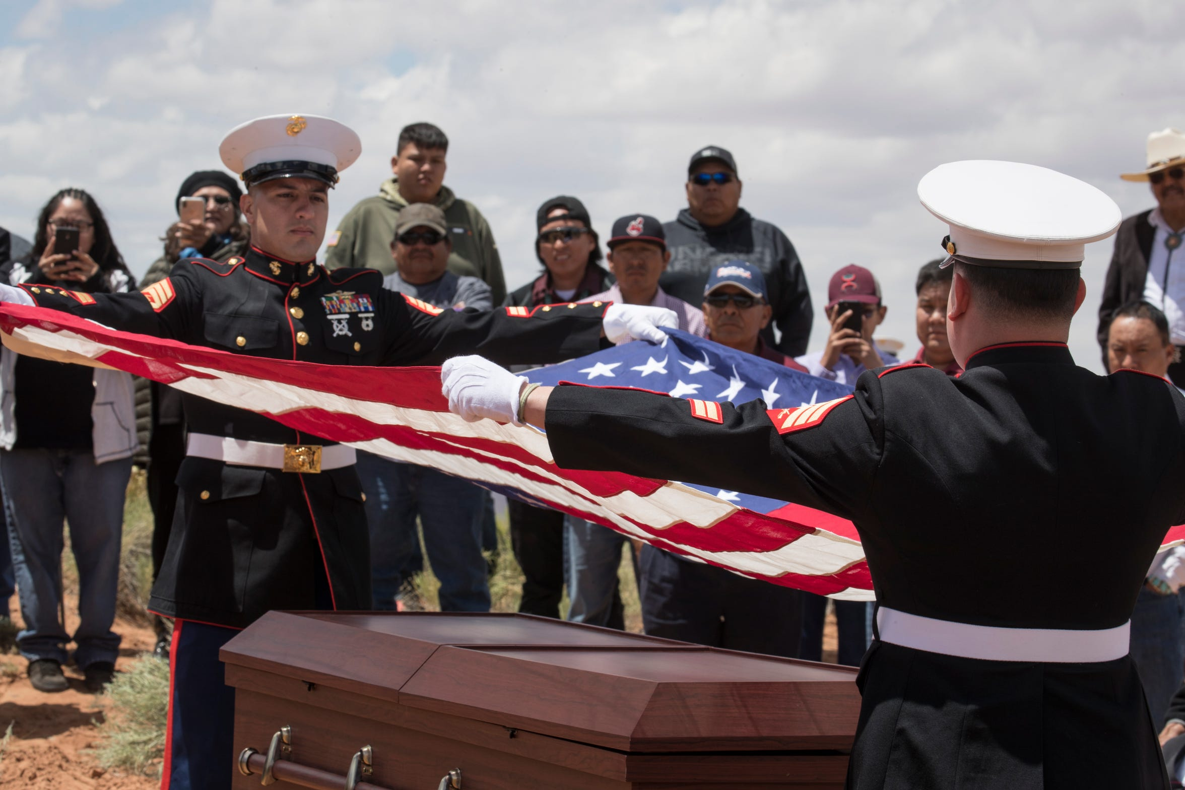 The flag was folded and presented to family during the interment of Navajo Code Talker Fleming Begaye Sr. on May 17, 2019, at the family plot in Salt Water Canyon, Ariz.