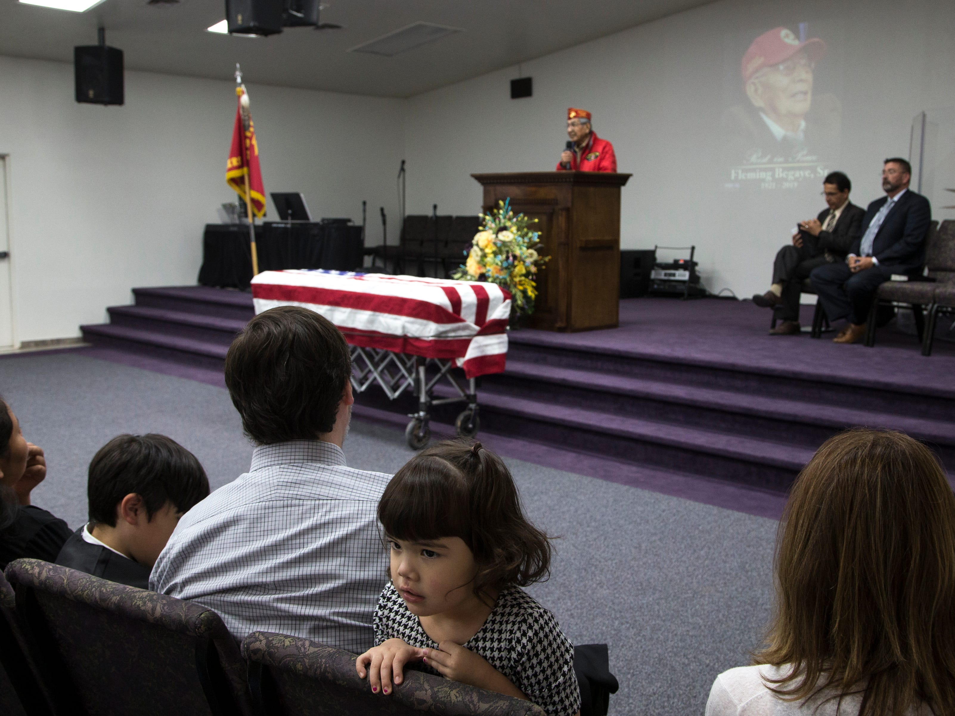 Navajo Code Talker Peter MacDonald Sr. speaks during the funeral service for Navajo Code Talker Fleming Begaye Sr. on May 17, 2019, at the Potter's House Christian Center in Chinle, Ariz.