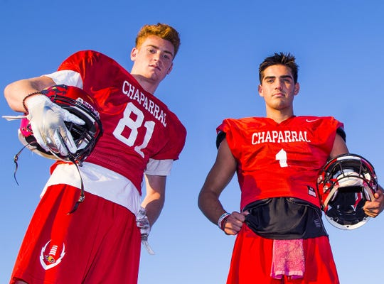 Chaparral High School wide receiver Tommy Christakos, left, and  quarterback Jack Miller.