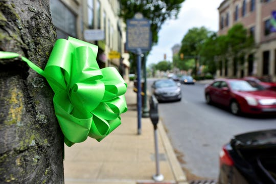 A green ribbon for Lyme Disease Awareness Month is tied around a tree on South Main Street in Chambersburg, pictured Friday, May 17, 2019.