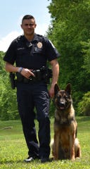 Newberry Township Police Officer Nicholas Vozzella poses with K-9 partner Zar. Photo courtesy of Newberry Township Police.