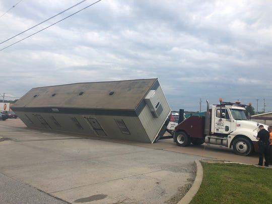 An overturned load disrupted traffic on Route 30 east Friday morning